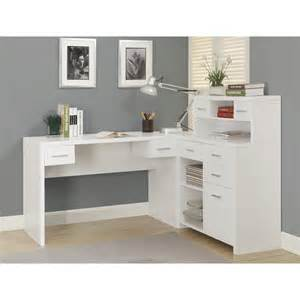 White L Shape Desk Monarch Hollow L Shaped Home Office Desk White Desks At Hayneedle