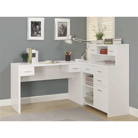 White Desk Home Office Monarch Hollow Core L Shaped Home Office Desk White
