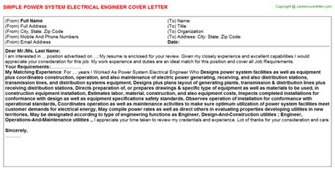 Power Engineer Cover Letter by Cover Letter For Power System Engineer Cover Letter Templates