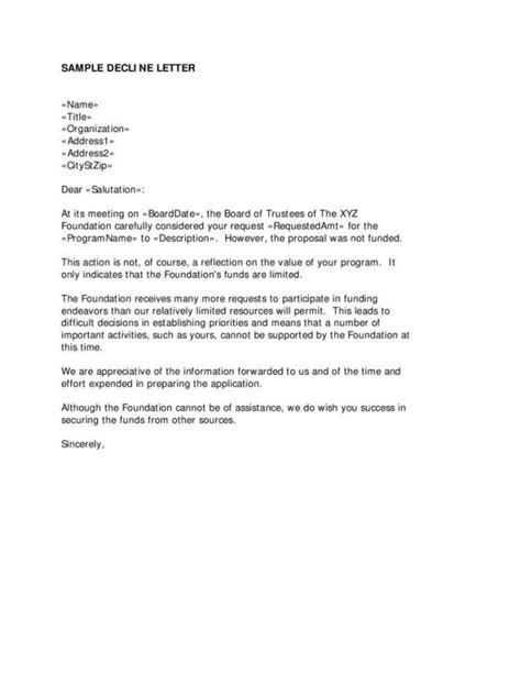 Sle Letter Declining A Refund Business Rejection Letter Template Discounts4kids