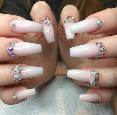 3d Wedding Nails W Swarovski Kuku Palsu Nail Wd0048a white ombre acrylic nails w rhinestones nails 2 white ombre acrylics