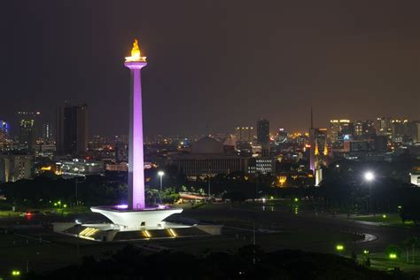 Light On Indonesia monas independence monument in jakarta indonesia