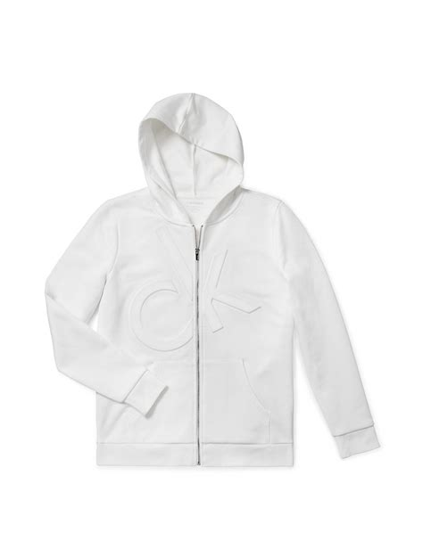 Hoodie Sweater Zipper Marshmello Cloth calvin klein white label logo embossed zip front hoodie in