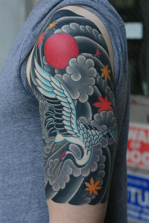 asian tattoo sleeve japanese crane
