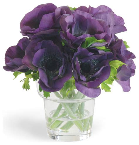 Purple Flower Vase by Faux Anemone Arrangement In Vase Traditional