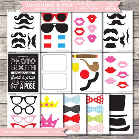 printable photo booth props diy sale instant download diy printable photo booth props