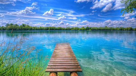 hd wallpaper blue nature background beautiful nature lake blue sky with white