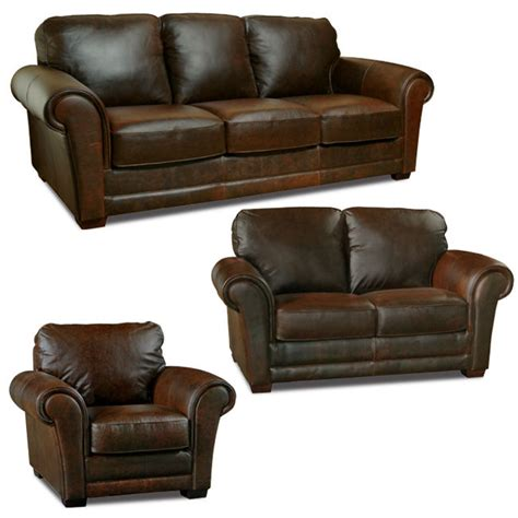 Leather 3 Sofa Set Luke Leather Quot Quot Italian Leather Distressed Chocolate