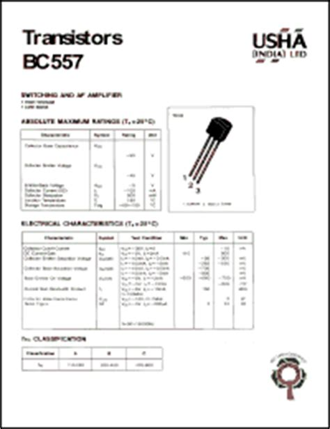 bc557 datasheet transistor switching and af lifier high voltage low noise vcbo 50v