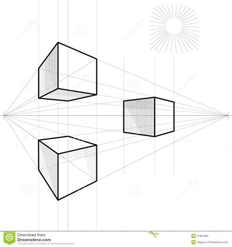vector sketch of a cube in perspective royalty free stock images image 21901669