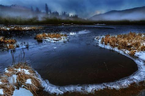 alaska river mist nature mountain cabin frost