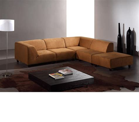 Modern Fabric Sectional Sofa Dreamfurniture Domino Modern Caramel Fabric Sectional Sofa