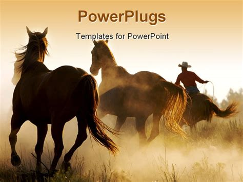 powerpoint themes horse powerpoint template a number of horses in the wild 16537