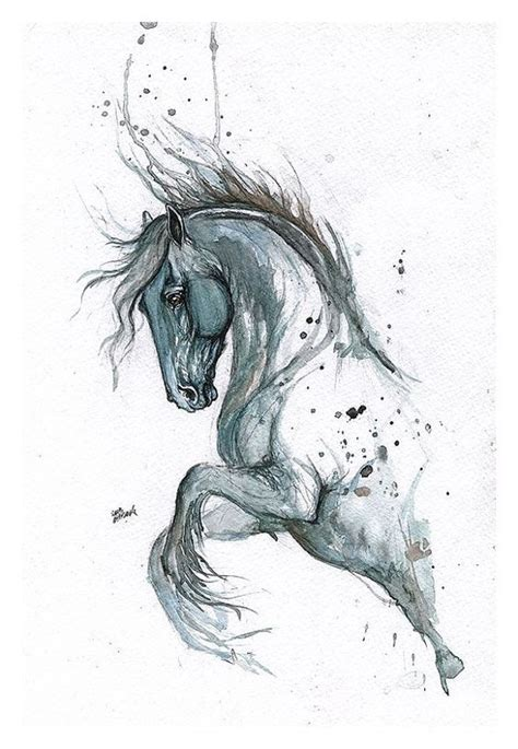 grey watercolor jumping horse tattoo design tattooimages biz