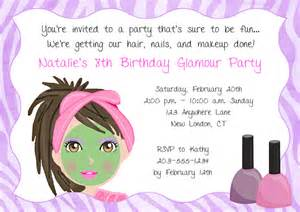 spa makeover birthday party invitations glamour makeover