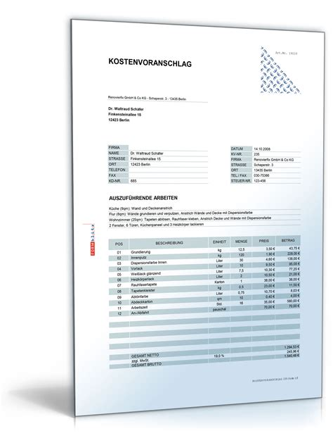 Word Vorlage Offerte Kostenvoranschlag Angebot F 252 R Maler Und Lackierarbeiten