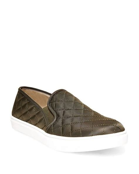 Steve Madden Quilted Slip On Sneakers by Steve Madden Quilted Slip On Sneakers In Green Olive Lyst