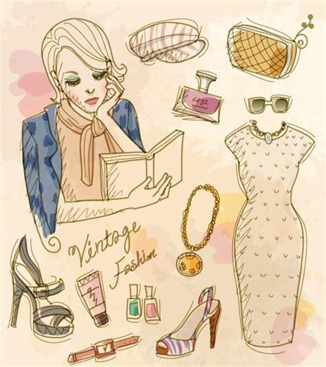 fashion illustration accessories free vector vintage illustration of fashion and s accessories 08 titanui