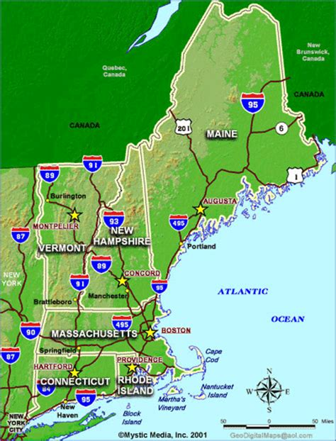 printable road map of new england state maps of new england maps for ma nh vt me ct ri