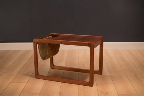 end table with attached l and magazine rack vintage leather magazine rack side table at 1stdibs