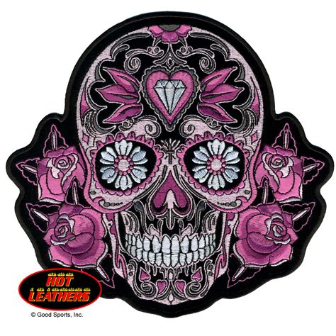 sugar skull tattoo with roses leathers pink sugar skull and roses patch my style