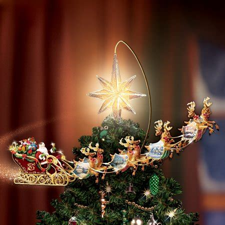 moving santa tree topper kinkade holidays in motion rotating illuminated import it all