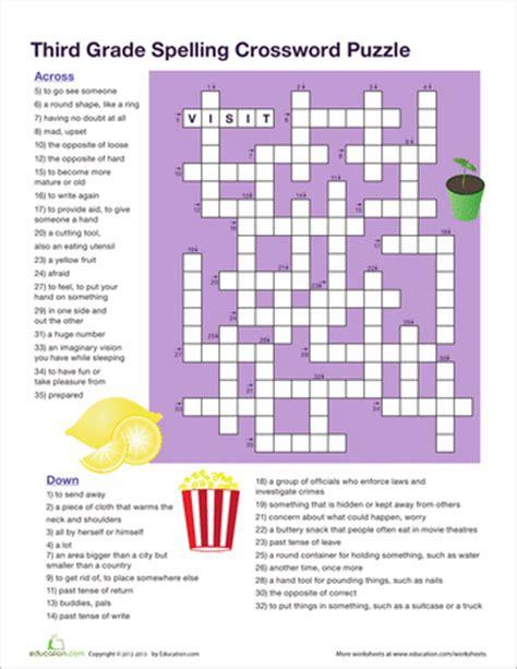 printable puzzles grade 3 3rd grade vocabulary crossword worksheets kids