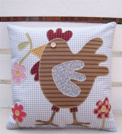 Patchwork Chickens - almofada aplique de galinha artesanato tecido