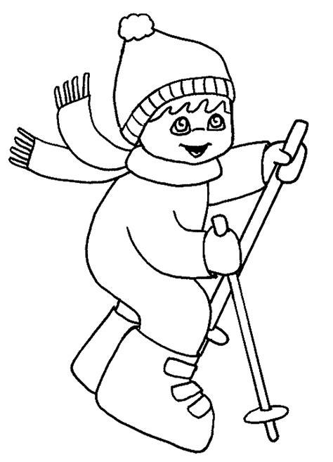 imagenes de verbos a blanco y negro winter kleurplaten skien