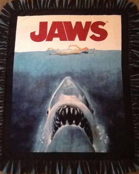 themes in the book jaws jaws print fleece tie blanket movie theme by