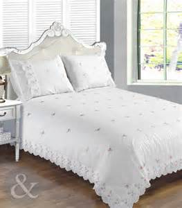Floral duvet cover white amp pink luxury lace embroidered bedding