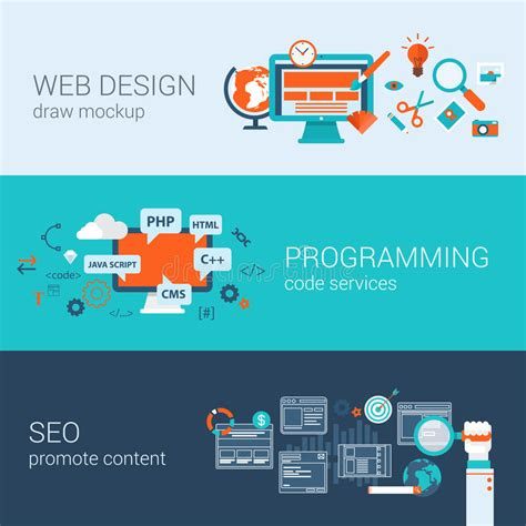 php pattern program code web design programming seo concept flat web banners set