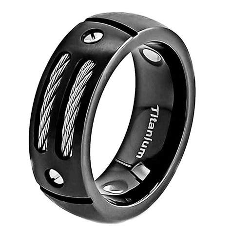 mm satin titanium ring black mens wedding band ebay