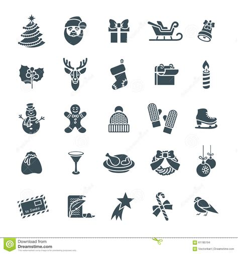 christmas tree text symbol symbols flat vector silhouette icons set stock vector image 61185194