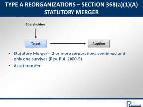 section 368 reorganization tax and corporate law on sales and purchases of businesses