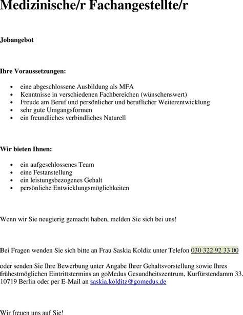 Bewerbungsschreiben Ausbildung Zur Medizinischen Fachangestellten stellenangebot medizinische r fachangestellte r in berlin