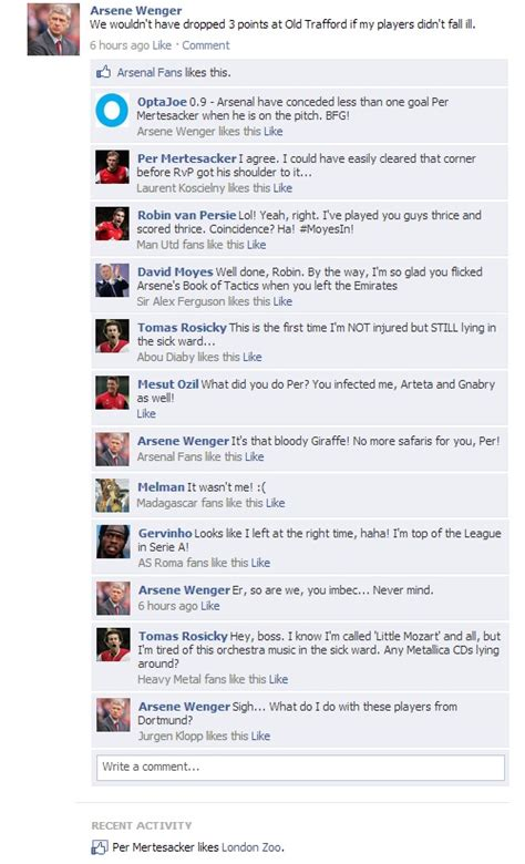 fb old fake fb wall arsene wenger updates his status after old