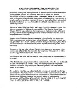 sle hazard communication program template 15 communication plan templates free sle exle