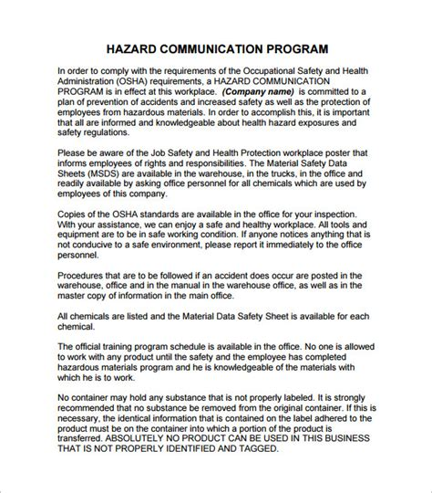 Hazard Communication Program Template 18 Communication Plan Templates Pdf Doc Free Premium Templates