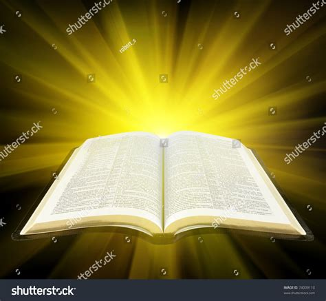 light in the bible open bible yellow rays light stock illustration 74009110