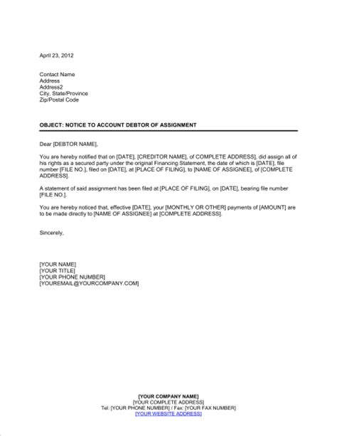Notice to Account Debtor of Assignment   Template & Sample