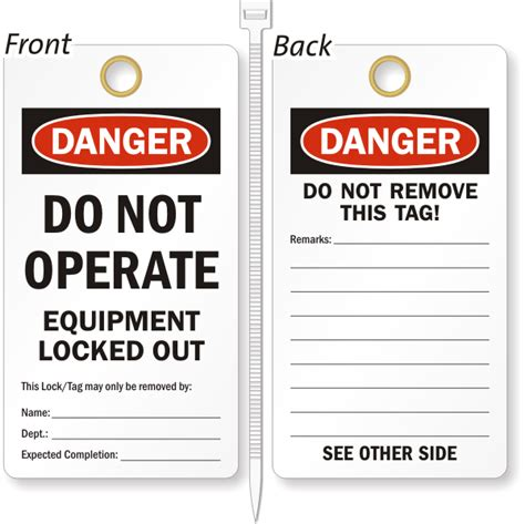 printable danger tags do not operate tags