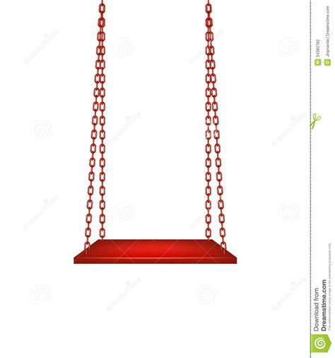 red swing swing hanging on red chains stock vector illustration of