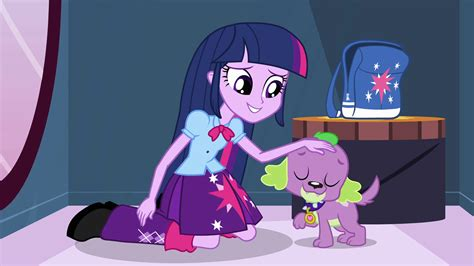 Equestria Girls Twilight And Spike | image twilight petting spike eg png my little pony