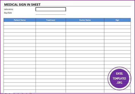 Medical Sign In Template Excel Templates Excel Spreadsheets Excel Templates Excel Physician Sign In Sheet Template
