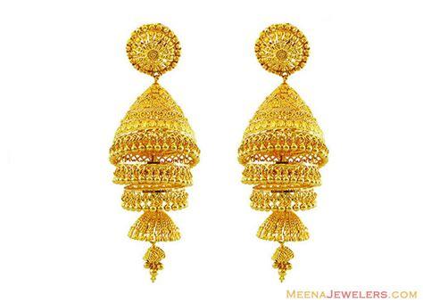 22k gold earrings designs 22k gold layered jhumka earrings erfc13137 22k yellow