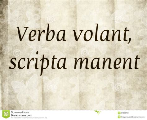 verbo volant verba volant scripta manent stock photo image 51842798