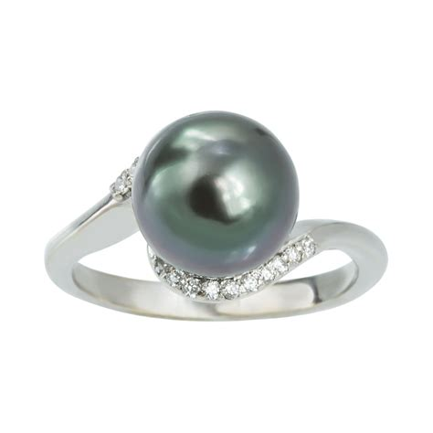 klenota sterling silver ring with tahitian pearl and
