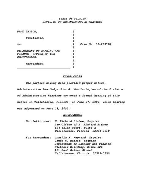 Florida Division Of Administrative Hearings Search Div Of Administrative Hearings Order Awarding Fees Based Upon