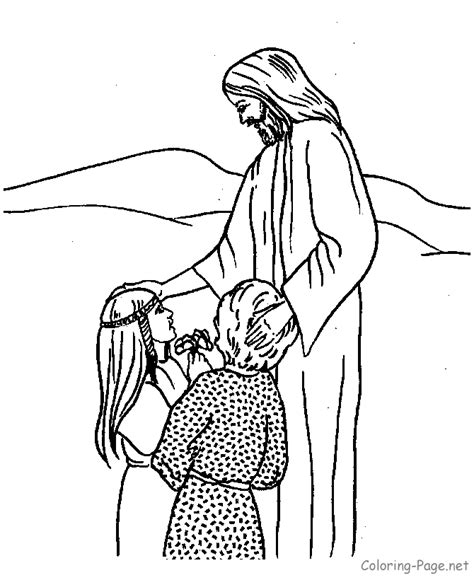 Bible Coloring Page Jesus And Children Jesus And Children Coloring Page